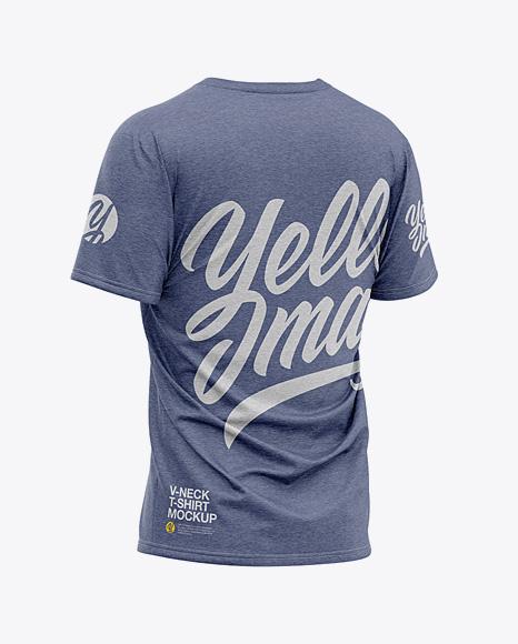 Men's Heather Loose Fit V-Neck T-Shirt – Back Half-Side View