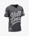 Men's Heather Loose Fit V-Neck T-Shirt – Front Half-Side View