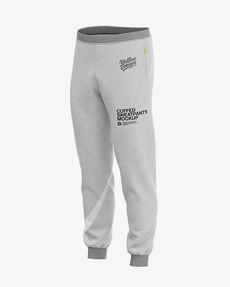 Men's Heather Cuffed Sweatpants - Front Left Half-Side View