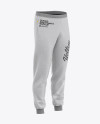Men's Heather Cuffed Sweatpants - Front Right Half-Side View