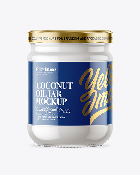 Clear Glass Jar with Coconut Oil Mockup