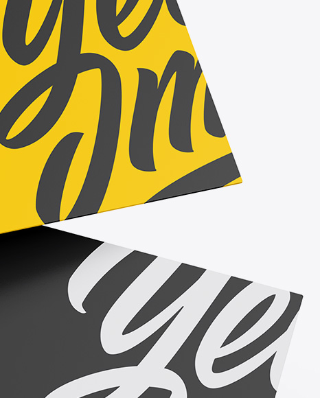 Two Business Cards Mockup In Stationery Mockups On Yellow