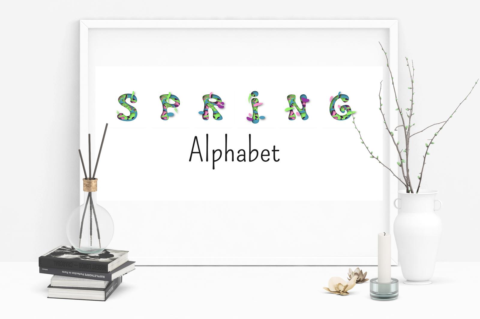 Spring alphabet. Paper cutout vector design.