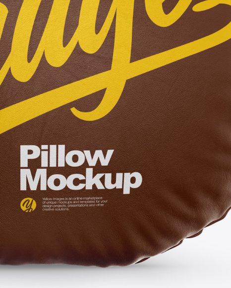 Round Leather Pillow Mockup