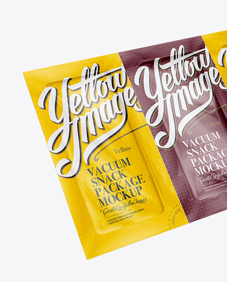 Download Vacuum Snack Package Mockup Half Side View In Sachet Mockups On Yellow Images Object Mockups PSD Mockup Templates
