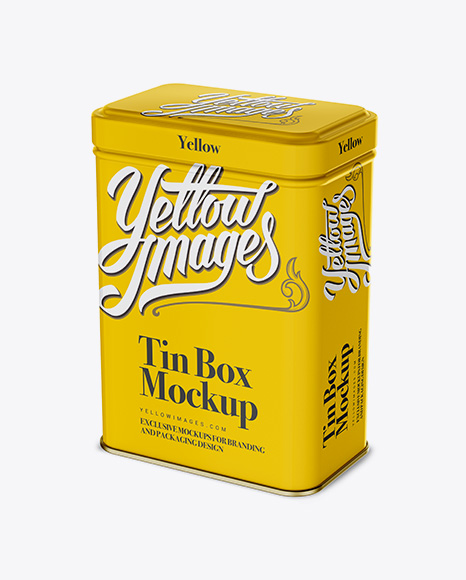 Download Tin Box Mockup In Box Mockups On Yellow Images Object Mockups PSD Mockup Templates