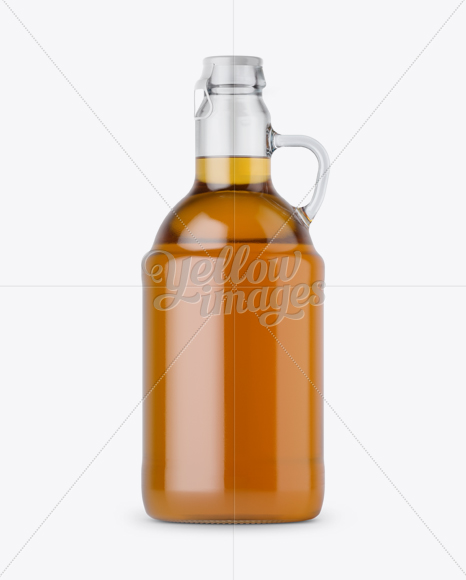Download Clear Glass Beer Bottle W Handle Mockup In Bottle Mockups On Yellow Images Object Mockups PSD Mockup Templates