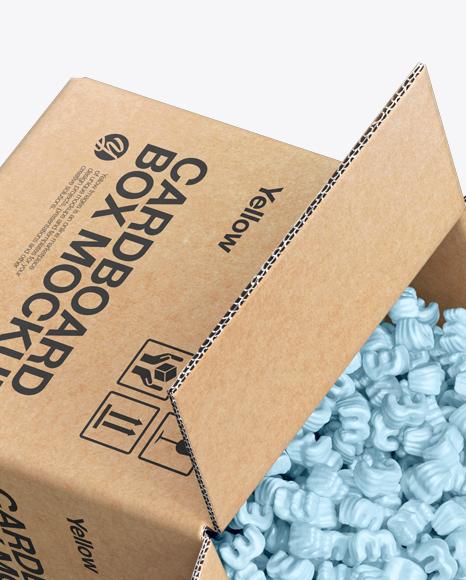 Cardboard Box with Styrofoam Filling Mockup
