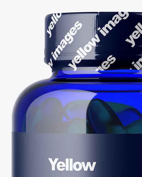 Blue Bottle with Fish Oil Mockup