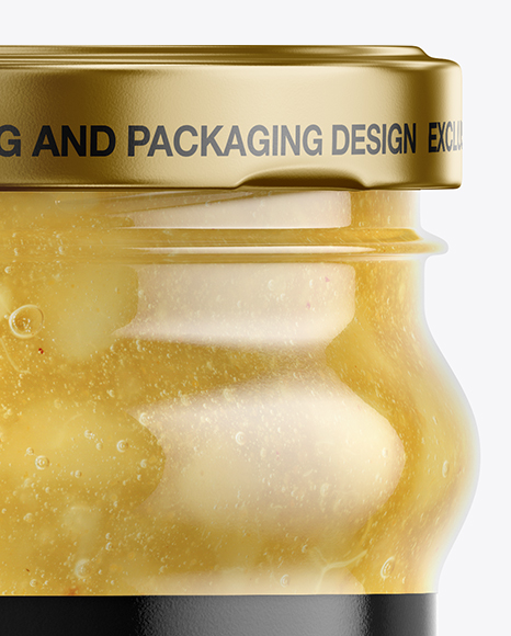 Clear Glass Jar with Pear Jam Mockup