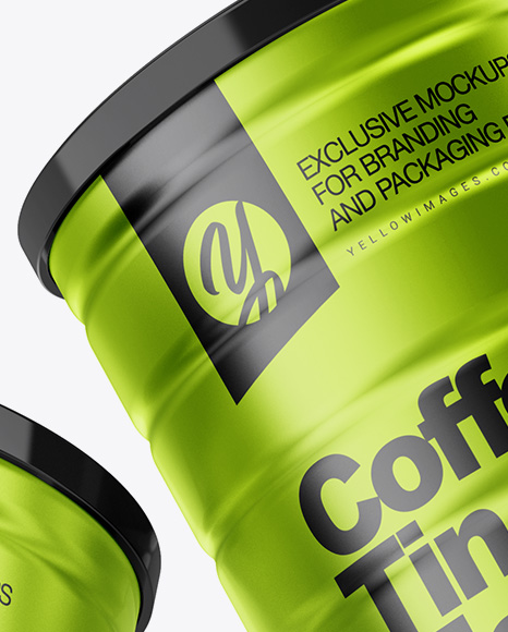 Two Metallic Coffee Tin Cans Mockup