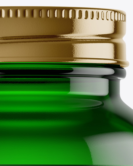Empty Green Glass Pills Bottle Mockup