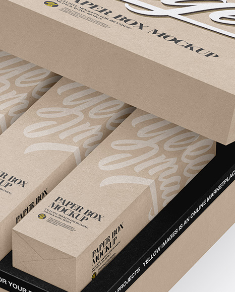 Download Kraft Boxes In Opened Box Front View PSD - Free PSD Mockup Templates
