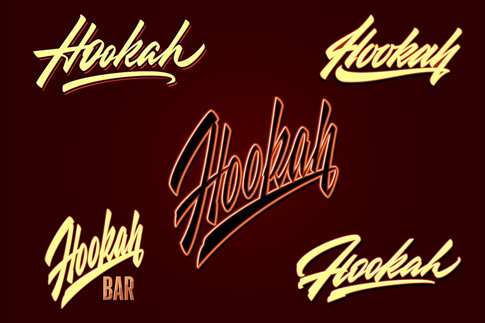 Hookah vector lettering set