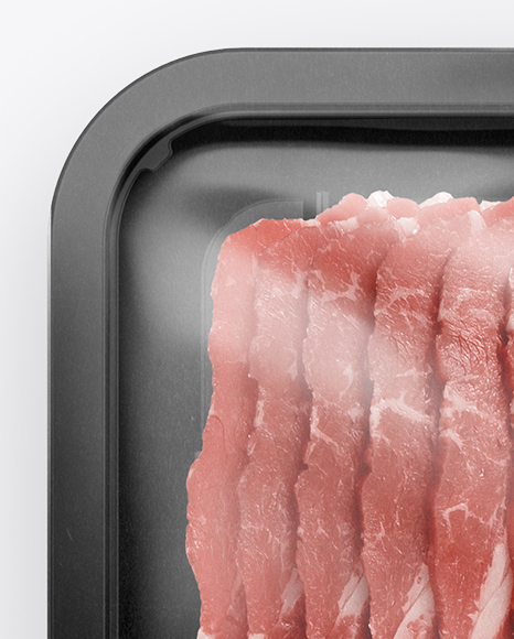 Plastic Tray With Raw Bacon Mockup