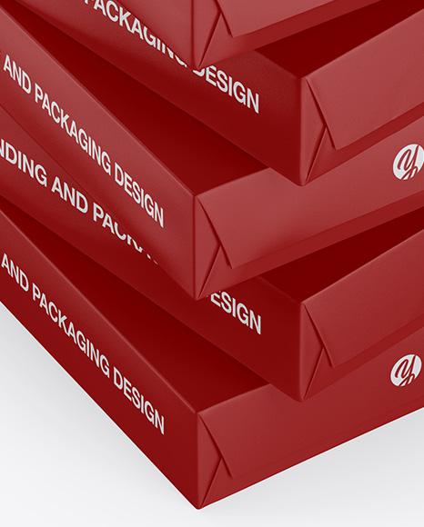 5 Matte A4 Size Paper Sheet Packs Mockup - Half Side View