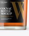 Square Clear Glass Bottle W/ Cognac Mockup