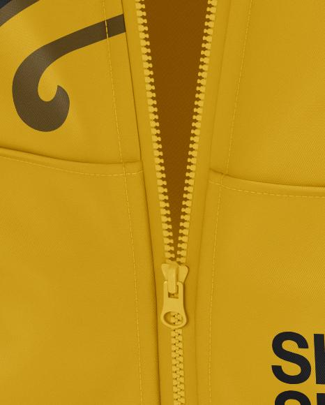 Short Sleeve Zip Hoodie Mockup - Halfside View