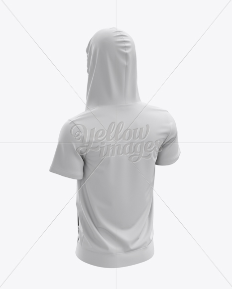 Short Sleeve Zip Hoodie Mockup - Halfside Back View