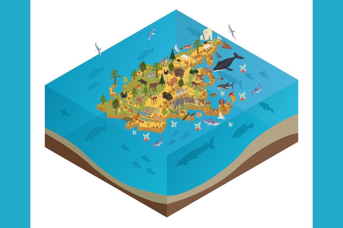 Asia isometric flora & fauna map