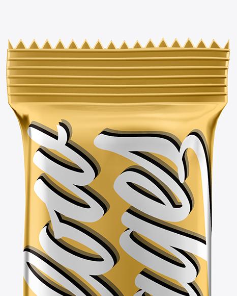 Metallic Snack Bar Sachet Mockup - Front View