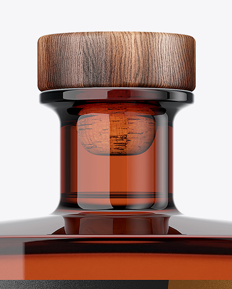 Square Amber Glass Bottle Mockup