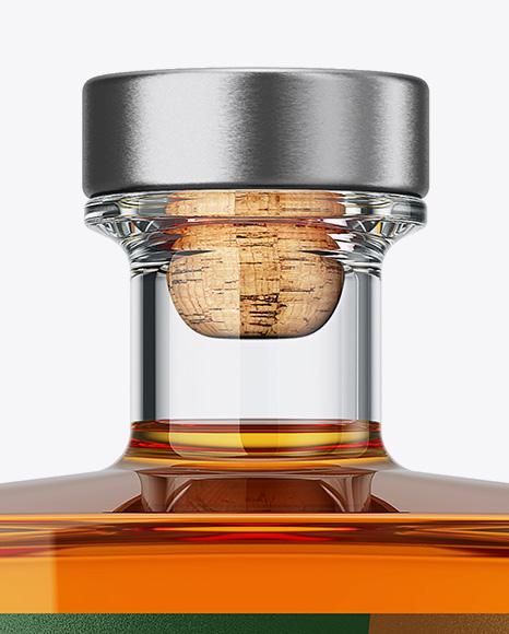 Square Glass Bottle W/ Whisky Mockup