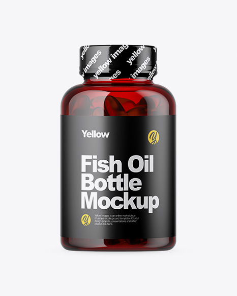 Red Bottle with Fish Oil Mockup