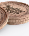 Four Wooden Beverage Coasters Mockup