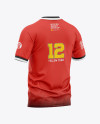 Men's Soccer Henley Collar Jersey Mockup - Back Half-Side View - Football Jersey Soccer T-shirt