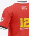 Men's Soccer Henley Collar Jersey Mockup - Back Half-Side View