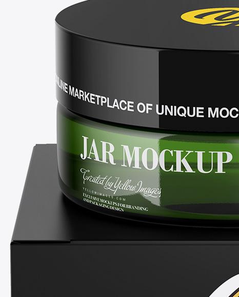 Green Jar w/ Paper Box Mockup