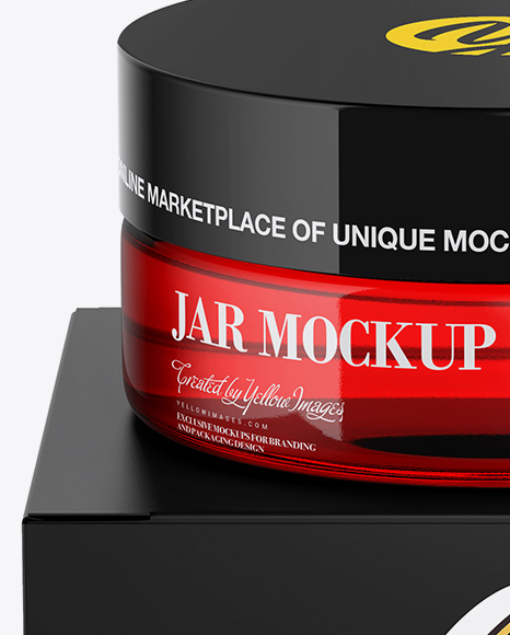 Red Jar w/ Paper Box Mockup