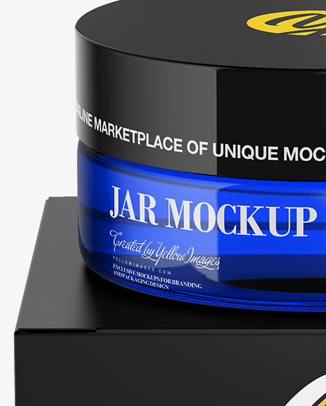 Blue Jar w/ Paper Box Mockup