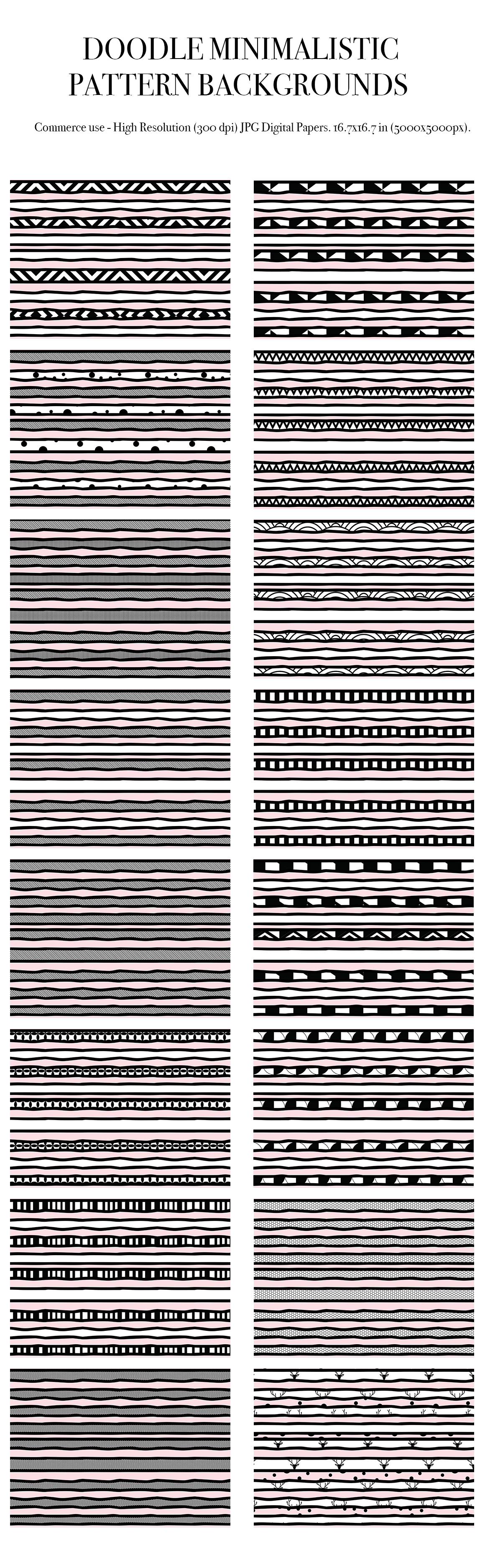 100 Doodle minimalistic fabric pattern backgrounds