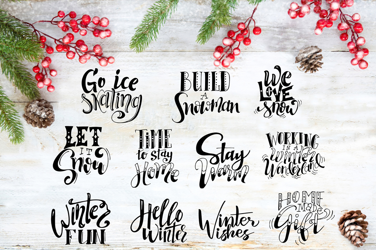 Winter Collection-Lettering+Clipart