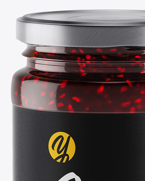 Clear Glass Jar w/ Jam Mockup