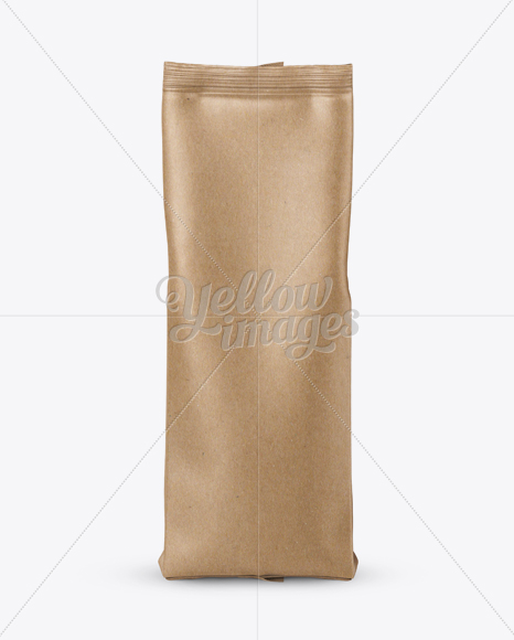 Kraft Paper Coffee Bag Mockup - Front View
