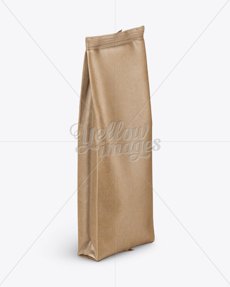 Download Kraft Paper Coffee Bag Mockup Halfside View In Bag Sack Mockups On Yellow Images Object Mockups PSD Mockup Templates