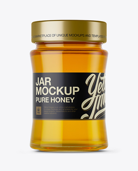 Download Glass Jar W Pure Honey Mockup In Jar Mockups On Yellow Images Object Mockups PSD Mockup Templates
