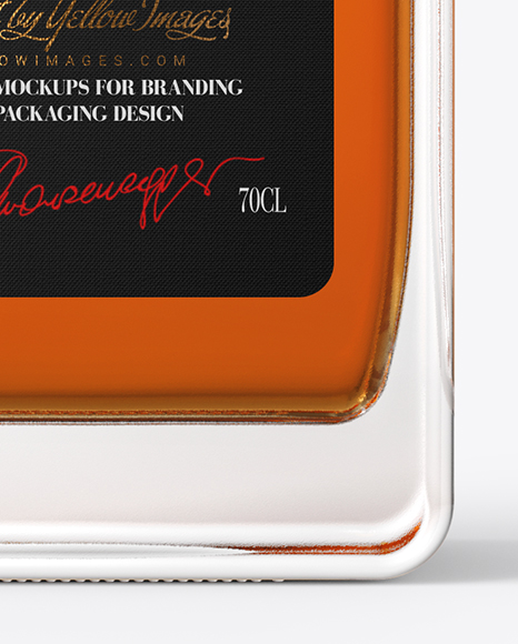 Square Whiskey Bottle with Wax Mockup
