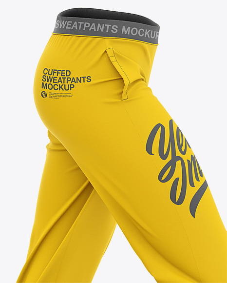 Women's Cuffed Sweatpants Mockup - Side View