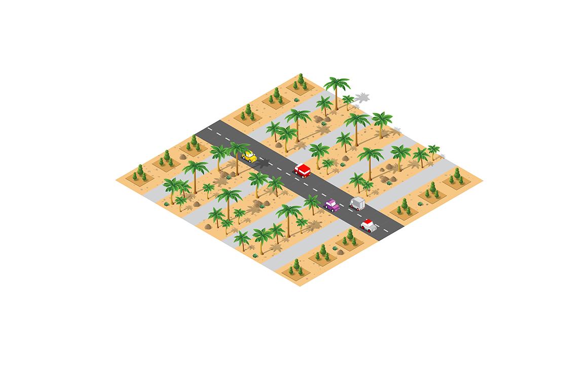 Vector desert  landscape module creator city