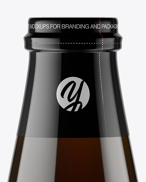 Clear Glass Bottle w/ Cold Brew Coffee Mockup