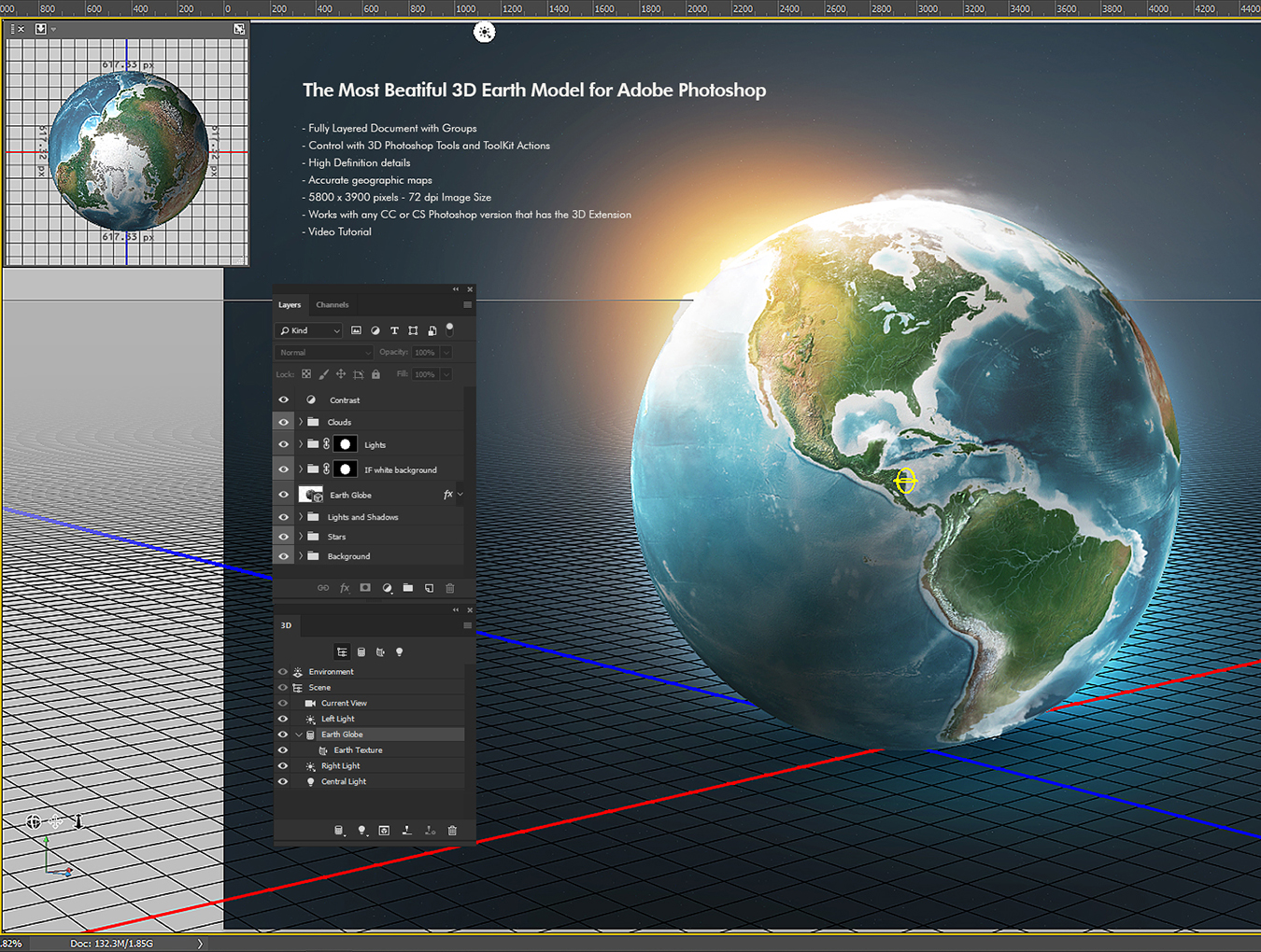 Photoshop 3D World in 3D Models on Yellow Images Creative Store