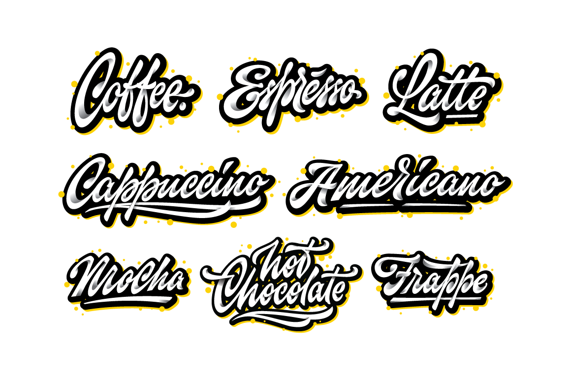 Coffee vector lettering set
