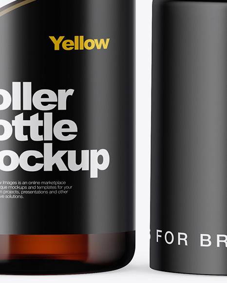 10ml Amber Glass Roller Bottle Mockup