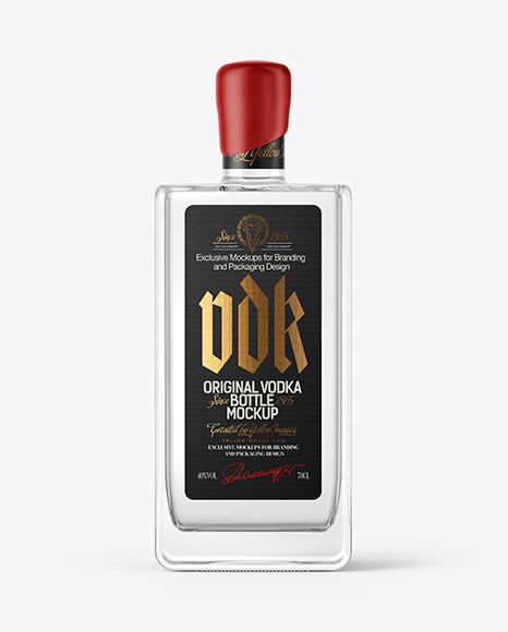 Square Vodka Bottle with Wax Mockup