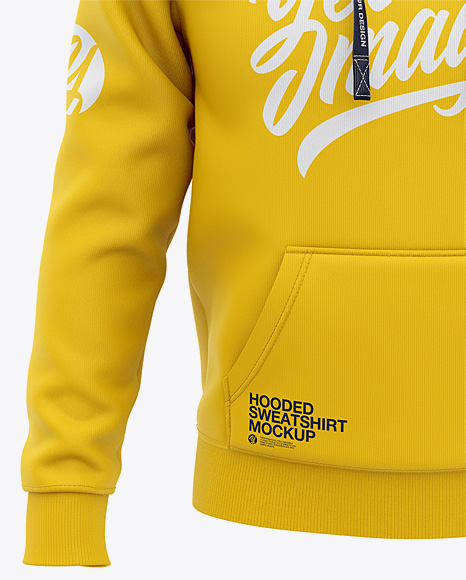 Download Mens Heather Pullover Hoodie Front View Of Hooded Sweatshirt Yellow Images