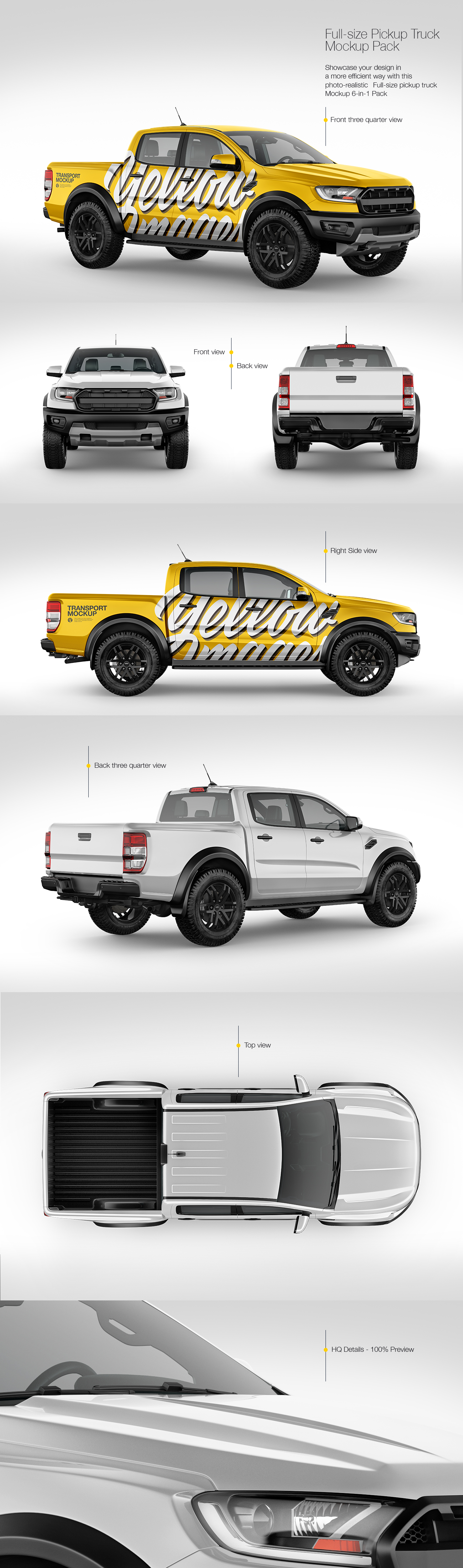 Download Full Size Pickup Truck Mockup Pack In Handpicked Sets Of Vehicles On Yellow Images Creative Store PSD Mockup Templates